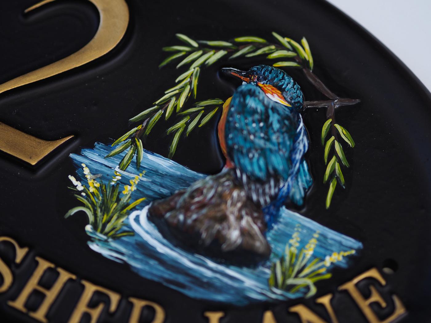 Kingfisher Split Design Close Up house sign