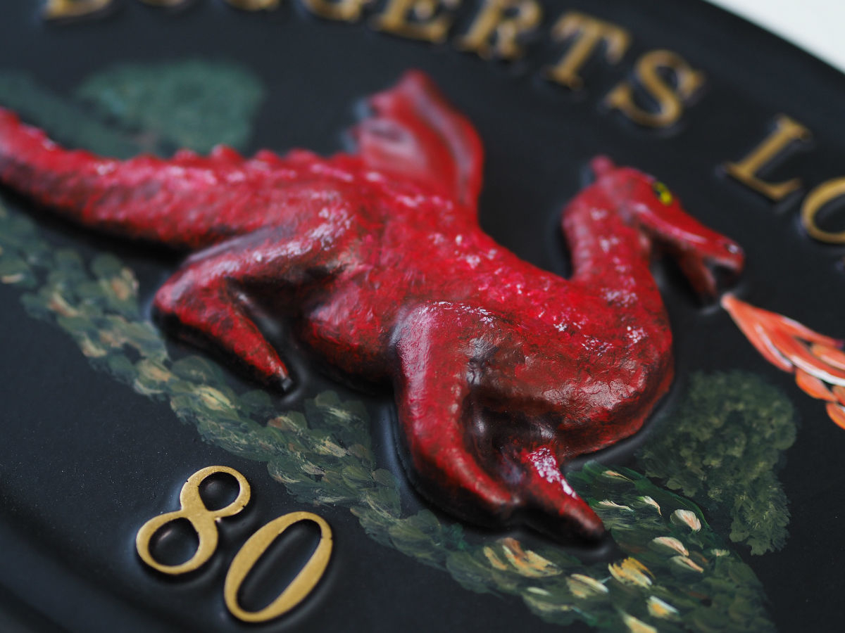 Dragon Red Close Up house sign
