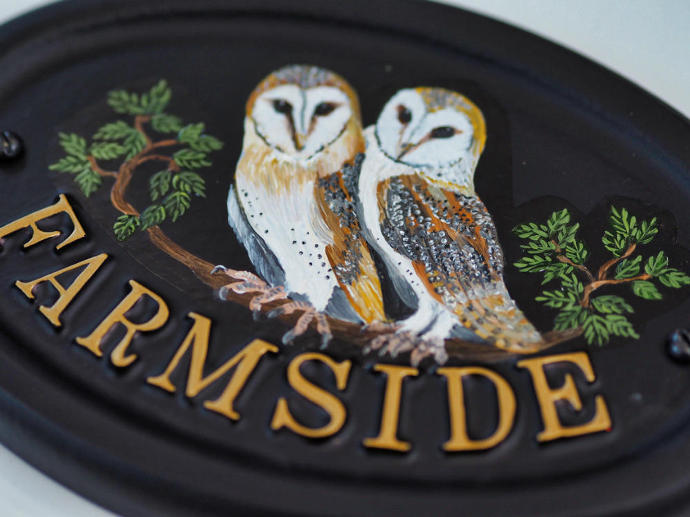 Owls Flat Painted close-up. house sign