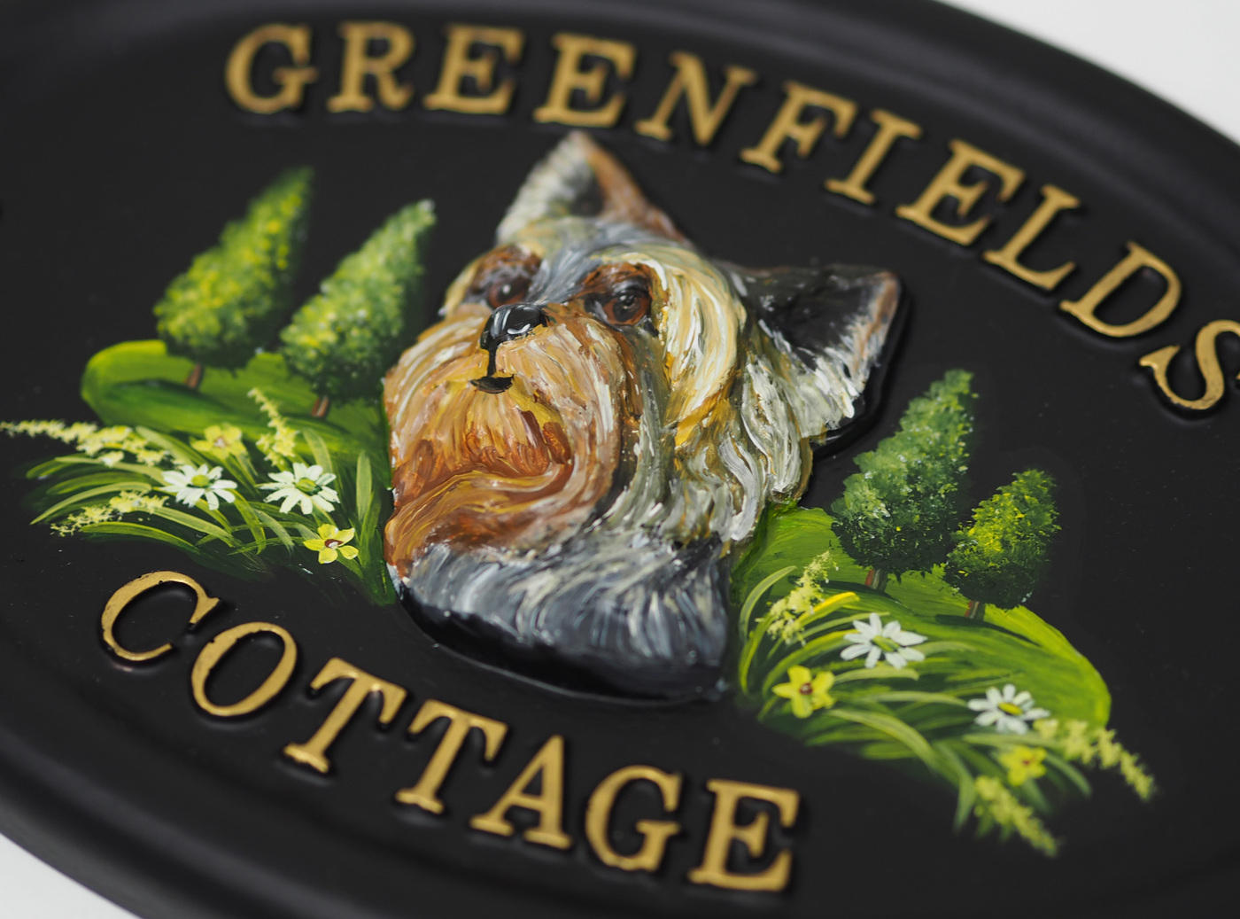 Yorkshire Terrier Head Close Up house sign
