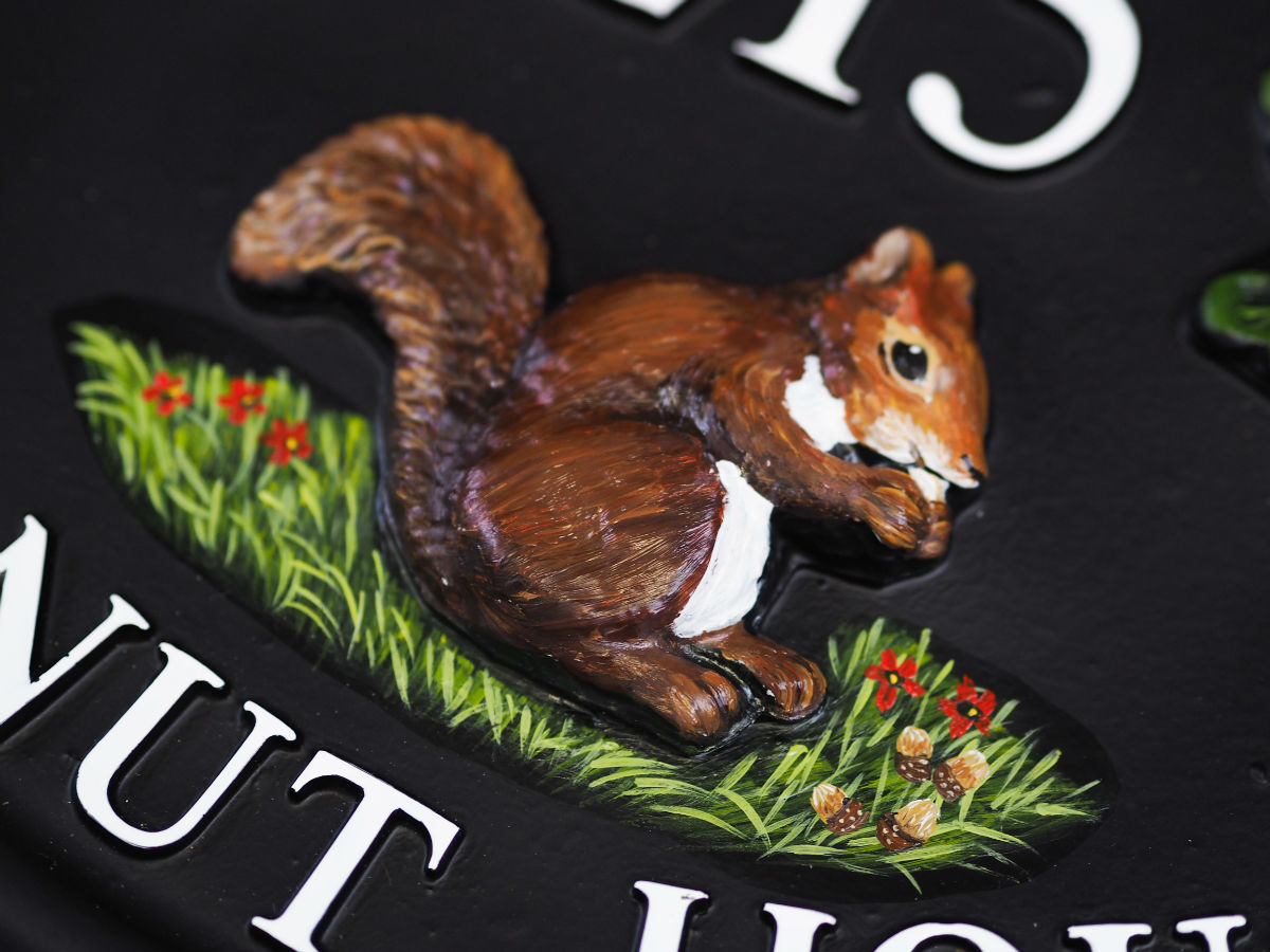 Squirrel With Acorns Close Up house sign