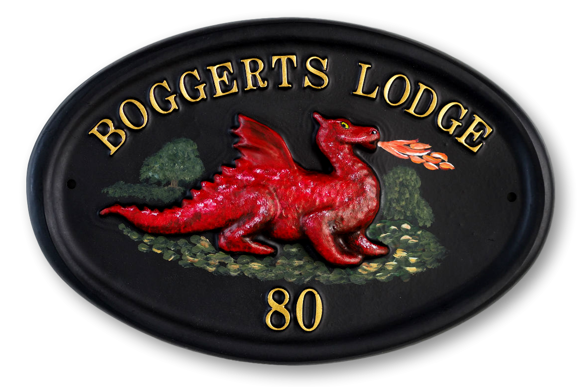 Dragon Red house sign