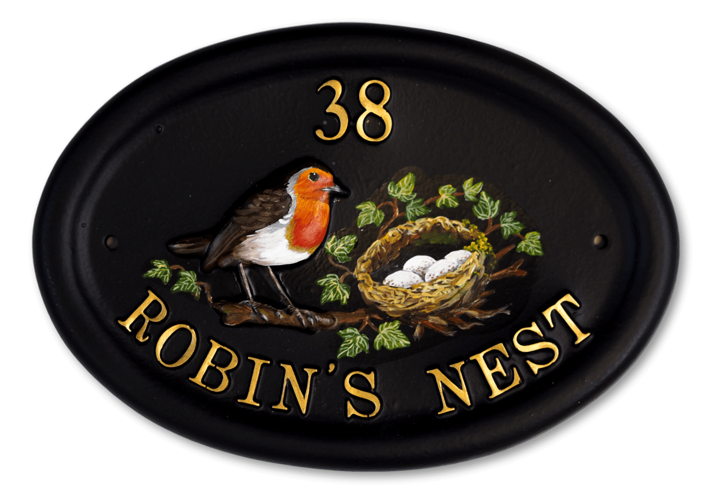 Robin & Flat Painted Nest house sign