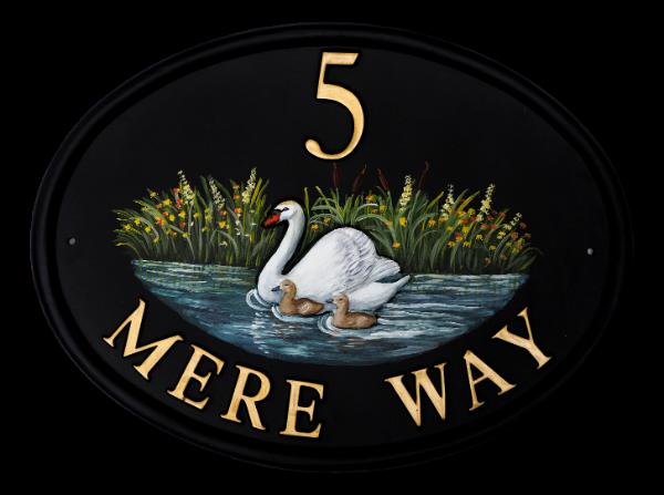 Swan & Cygnets house sign