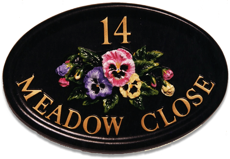 Pansies house sign
