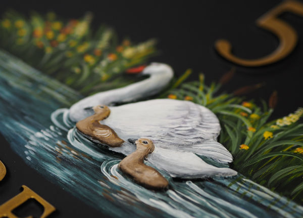 Swan & Cygnets Close Up house sign