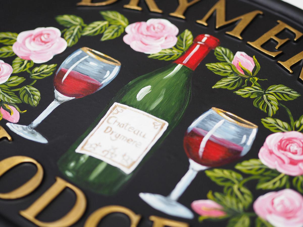 Wine Bottle & Glasses Close Up house sign