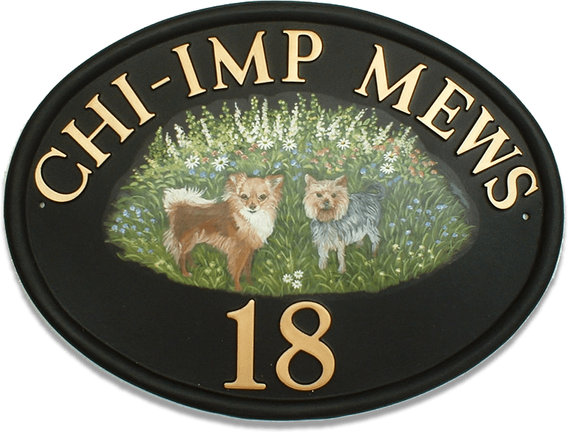 Dogs Flat Painted house sign