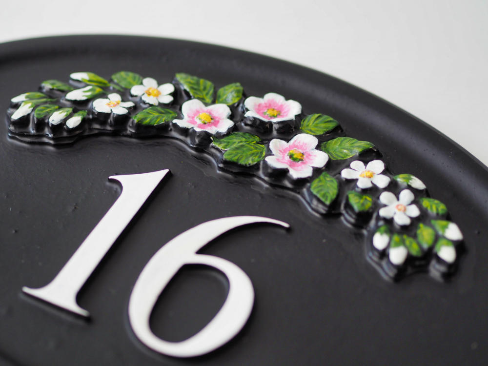 Row Of Flowers Close Up house sign