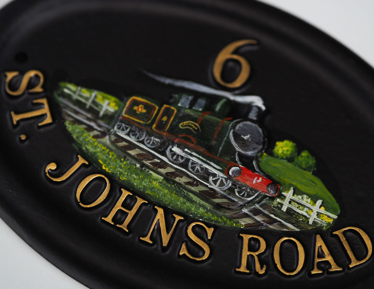 Steam Train Close Up house sign