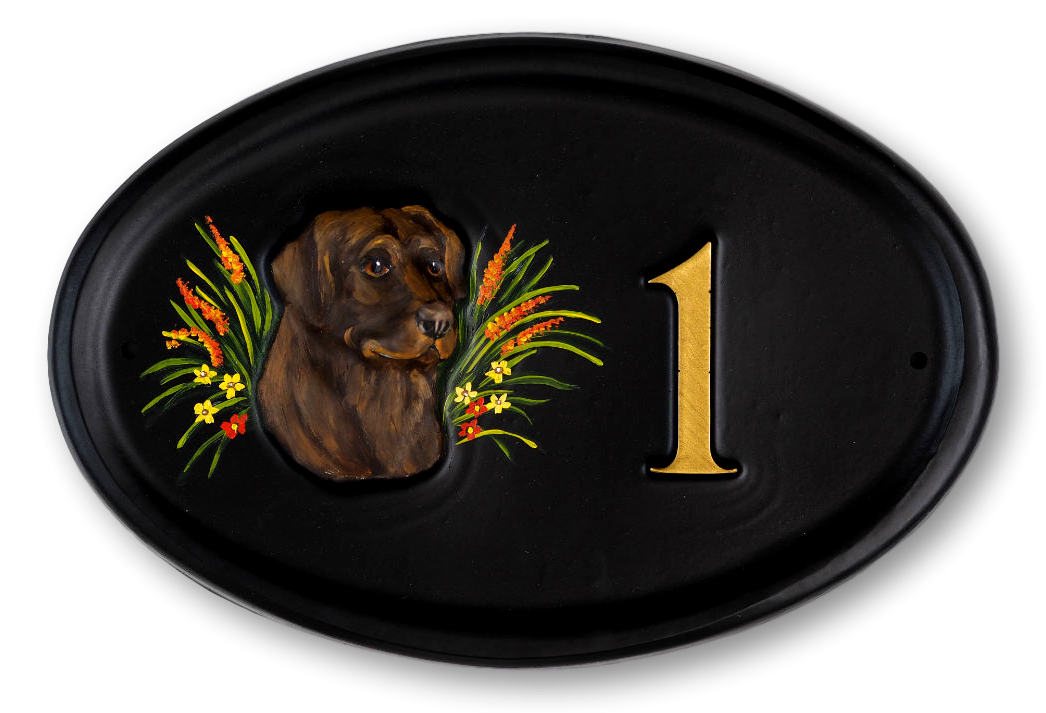 Labrador Head Chocolate house sign
