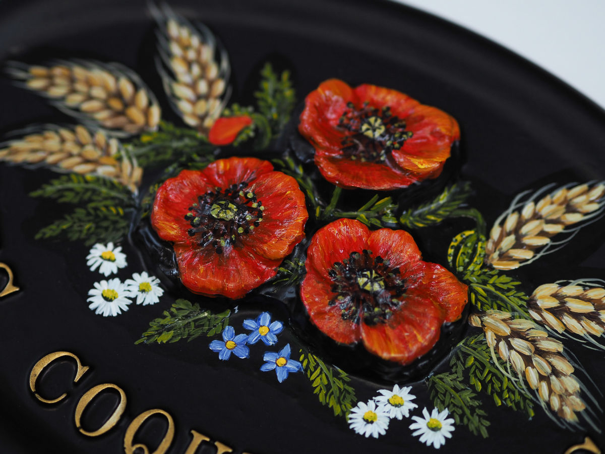 Poppies & Wheat Close Up house sign