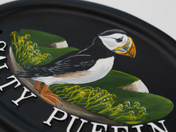 Puffin Flat Painted Close Up house sign