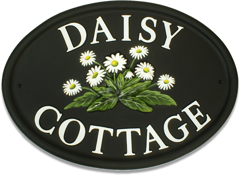 Daisies White Letters house sign
