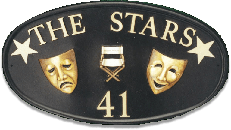 Theatre Masks house sign