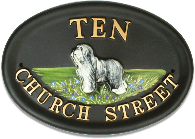 Old English Sheepdog Full Body house sign