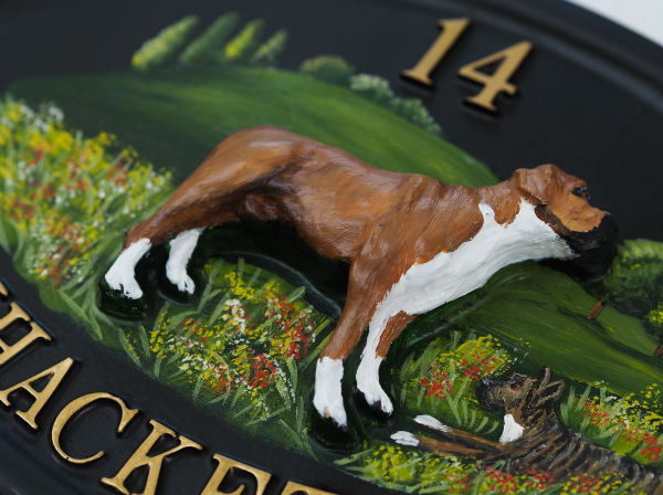 Boxer Full Close Up house sign
