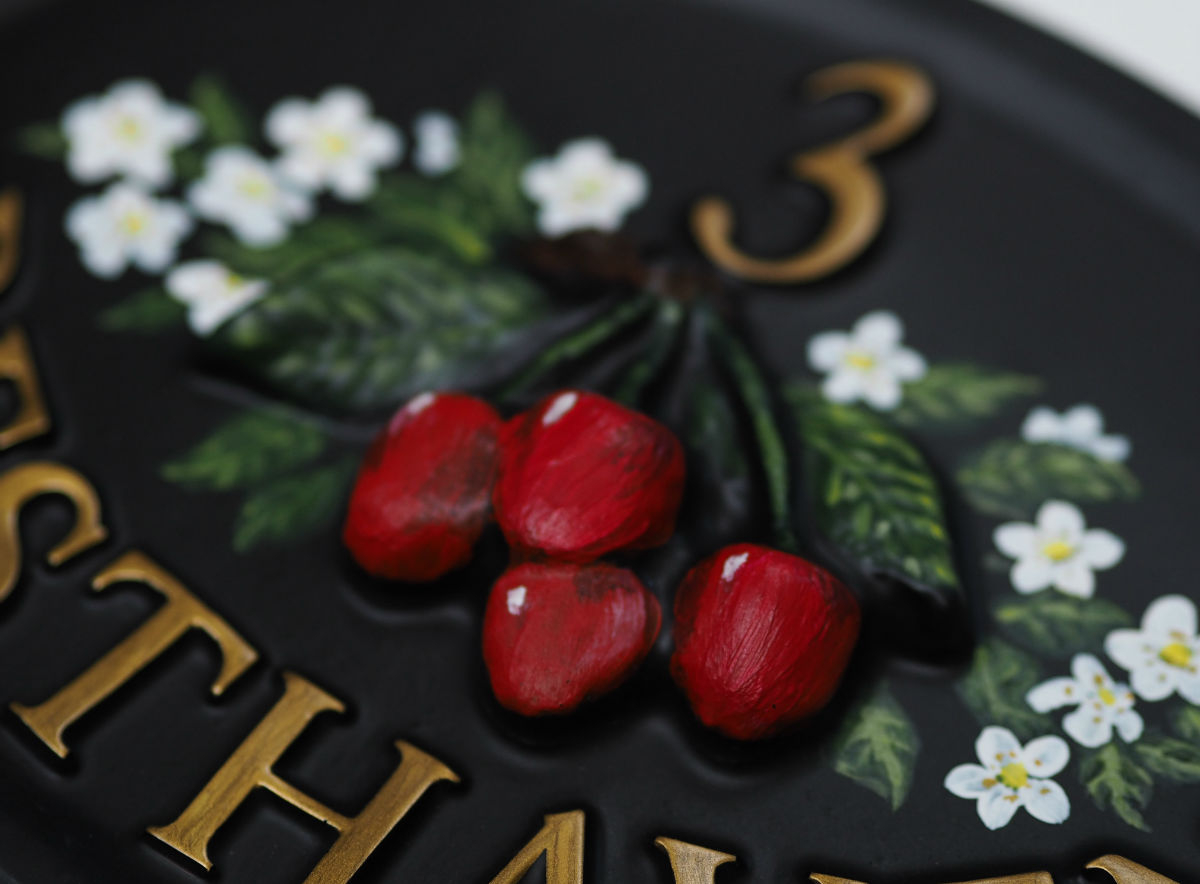 Cherries Close Up house sign