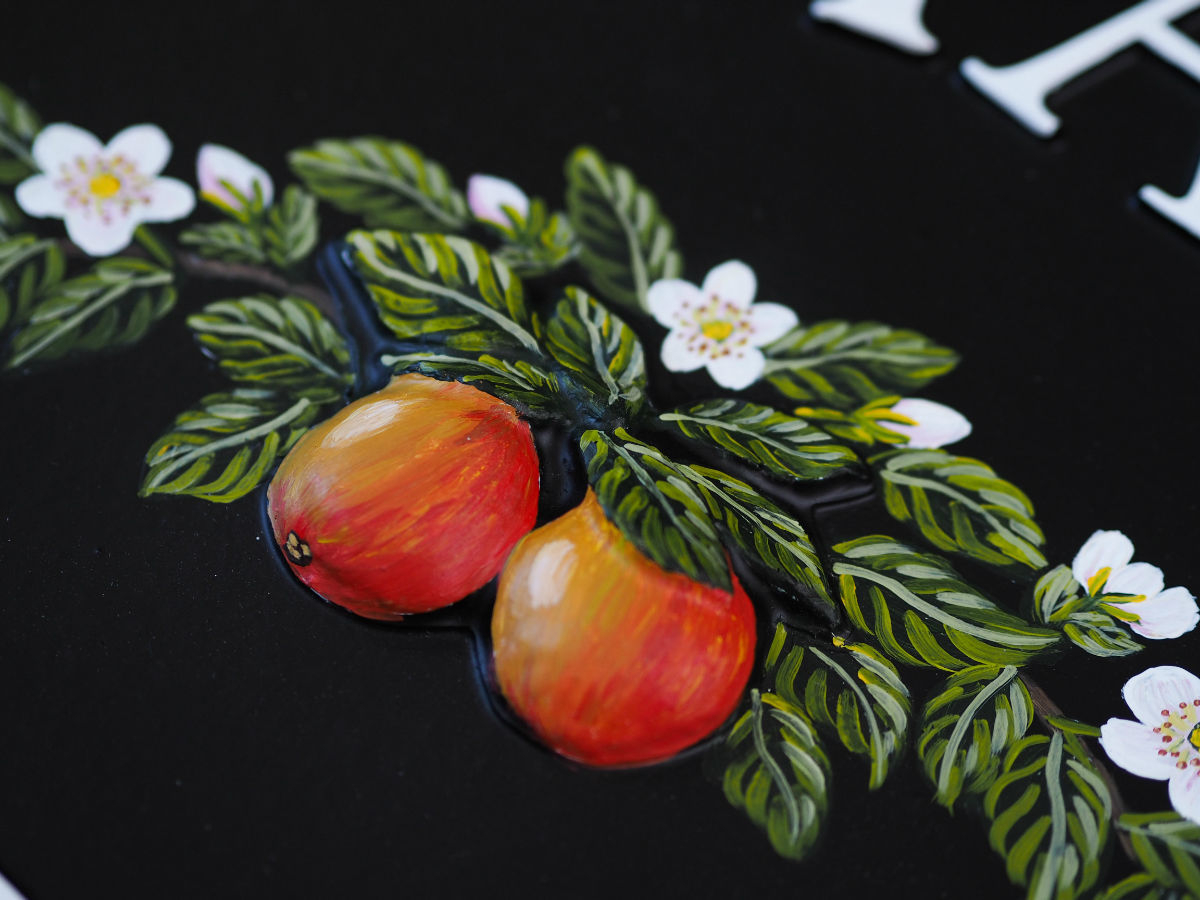 Apples And Blossom Close Up house sign