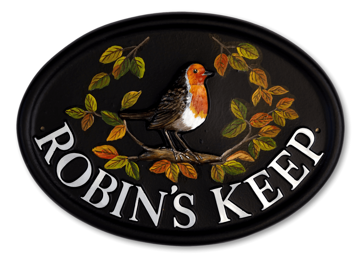 Robin Large & Leaves house sign