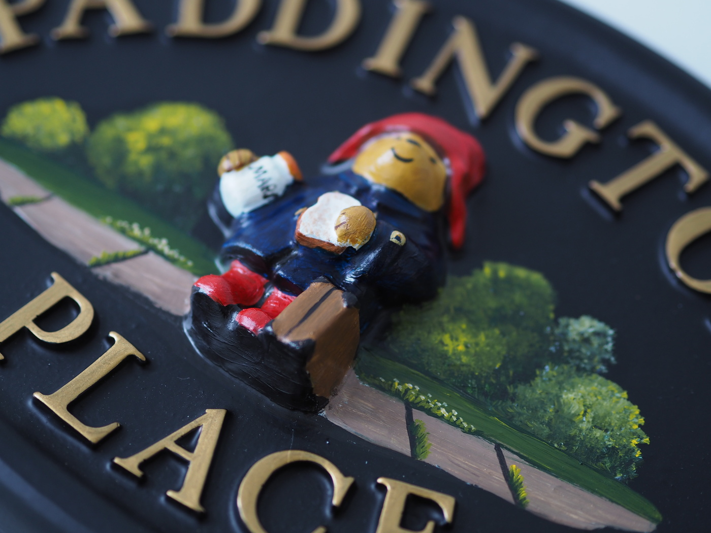 Paddington Bear Close Up house sign