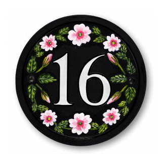 Pink Primroses House Number house sign