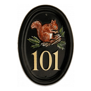 Squirrel Red On Log Animal House Sign house sign