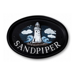 Lighthouse Water Scene House Sign house sign