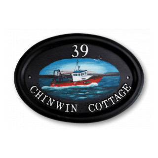 Boat Trawler Water Scene House Sign house sign