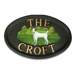 Fox Terrier Smooth Haired Flat Painted Dog House Sign house sign