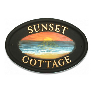Sunset Water Scene House Sign house sign