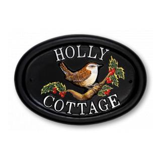 Wren Holly Bird House Sign house sign