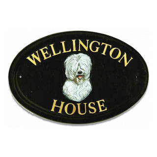 Old English Sheep Dog Head Dog house sign