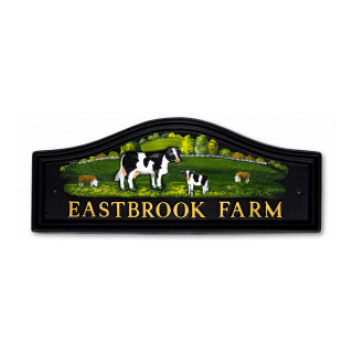 Cows & Flat Painted Sheep Animal House Sign house sign