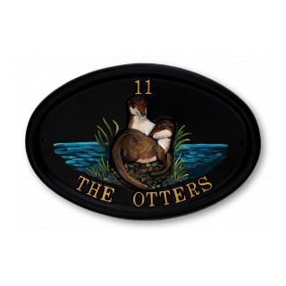 Otters Water Scene House Sign house sign