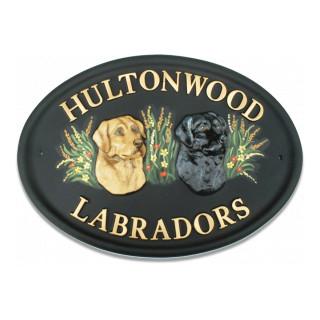 Labrador Heads Dog House Sign house sign