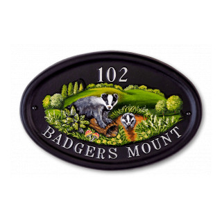 Badger & Flat Painted Animal House Sign house sign