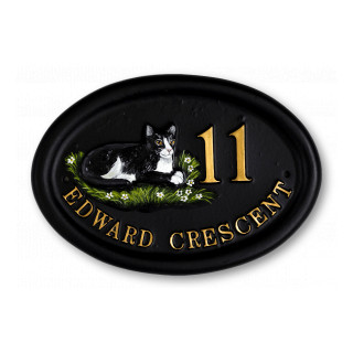Cat Laying Split Layout Cat House Sign house sign