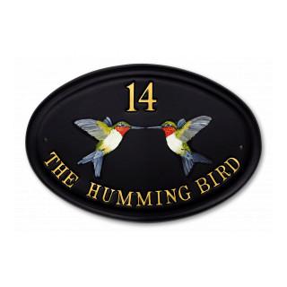 Hummingbirds Flat Painted Bird House Sign house sign