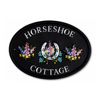 Horseshoe & Flowers Miscellaneous House Sign house sign