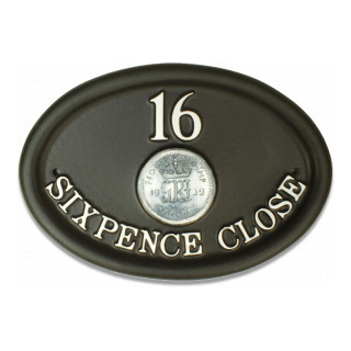 Coin Sixpence Miscellaneous House Sign house sign