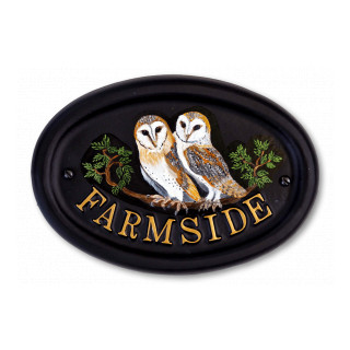 Owls Flat Painted Bird House Sign house sign