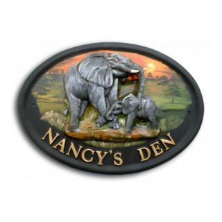 Elephant & Baby Animal House Sign house sign