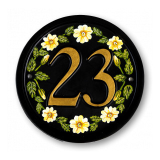 Yellow Primroses House Number house sign