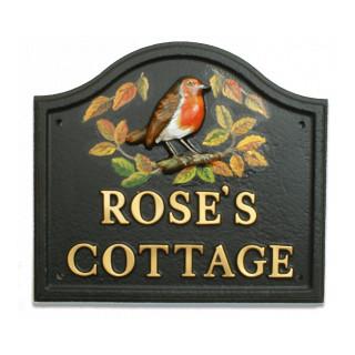 Robin & Autumn Leaves Bird House Sign house sign