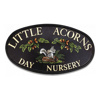 Squirrel On Log With Acorns Animal House Sign house sign