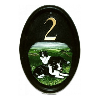 Border Collies Flat Painted Dog House Sign house sign