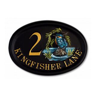 Kingfisher Split Design Bird House Sign house sign