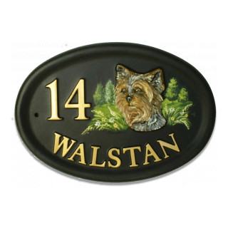 Yorkshire Terrier Head Dog House Sign house sign