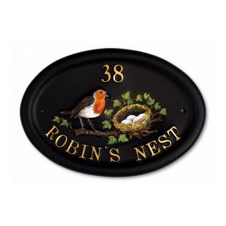 Robin & Flat Painted Nest Bird House Sign house sign